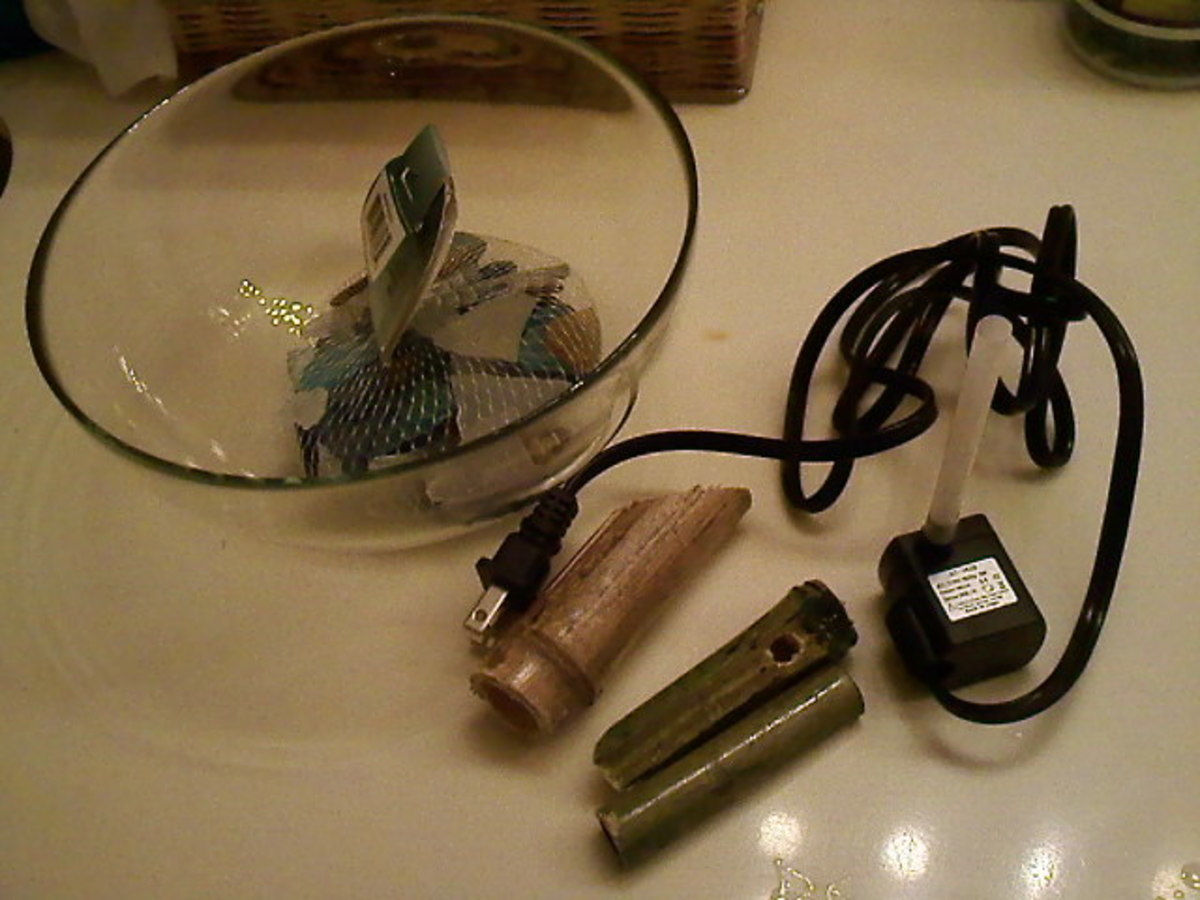 Items needed: Water pump, the pieces of bamboo, glass bowl, decorative stones and the straw.
