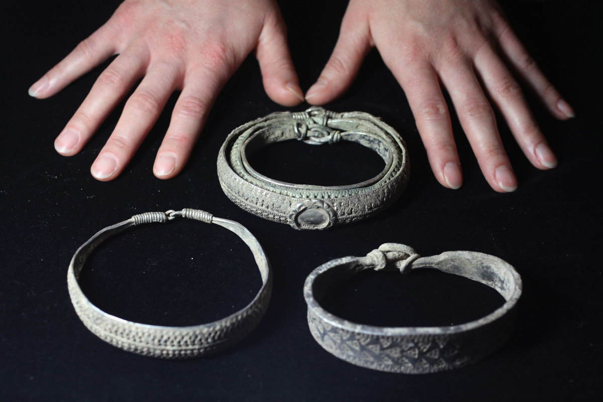 Arm rings from the hoard - arm rings were given to favoured warriors by kings and jarls (Norse earls) and before coinage became widespread in Scandinavia bits were hacked off to be used to buy goods overseas