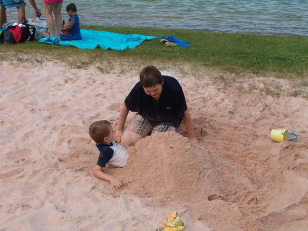 Bury your friend in the sand or build a sand castle