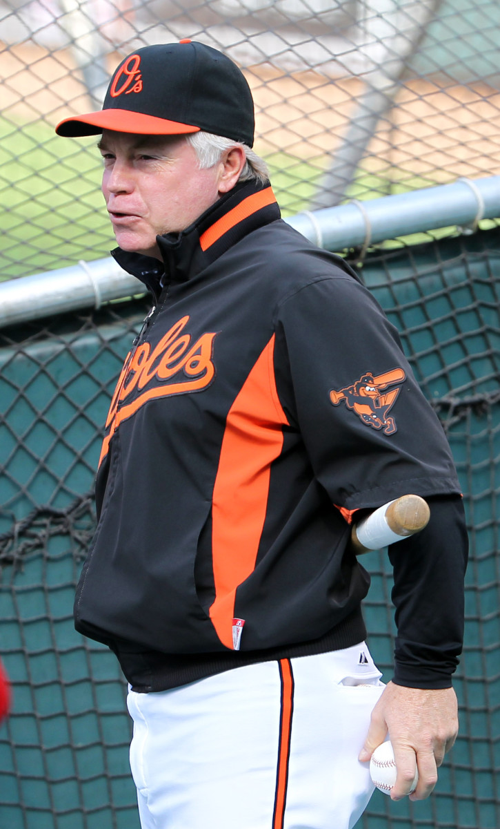 Baltimore Orioles Buck Showalter in the colors of the calico cat.
