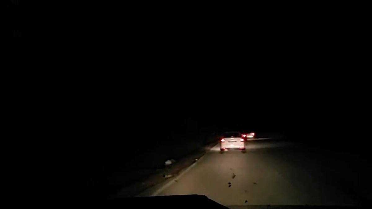 A picture of a dark Ulu Yam road.