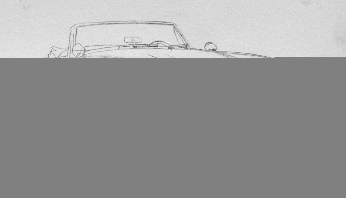 How to draw cars easy, Austin Healey tracing in pencil.