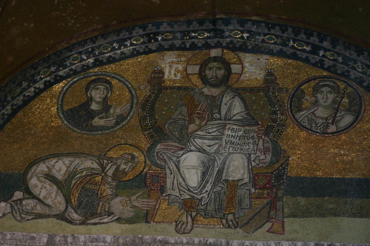 Imperial (Emperor's) Gate mosaic over the marble doorway of Hagia Sophia.