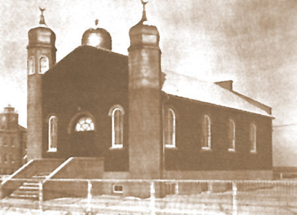 """The Al-Rashid Mosque at its opening in 1938.  This Edmonton mosque just missed being the first """"Little Mosque on the Prairies"""" (North America) and was moved to its current location at Fort Edmonton Park in 1991."""