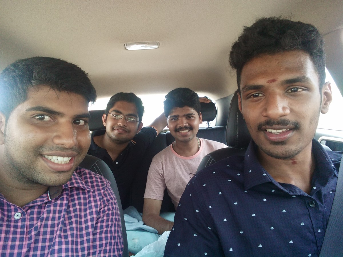myself and friends on the way to beach