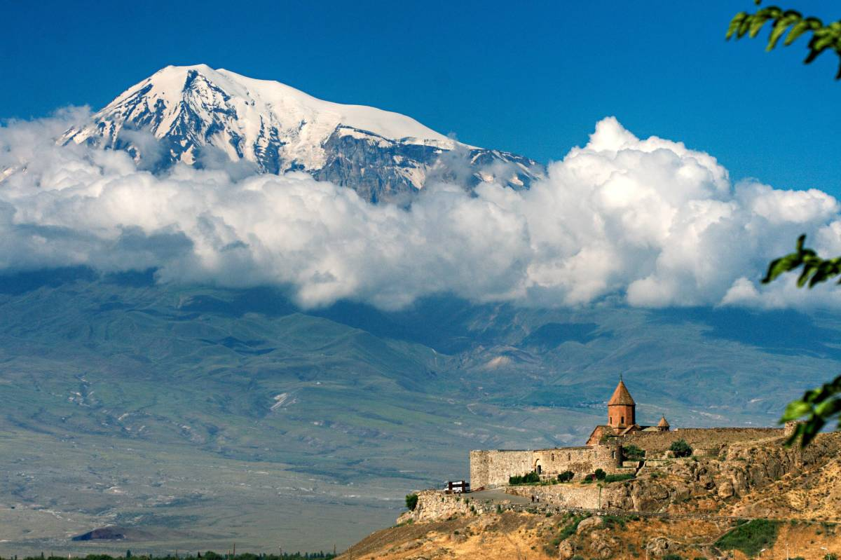 A view of Mount Ararat in Turkey (as seen from Armenia with the Khor Virap Monastery).