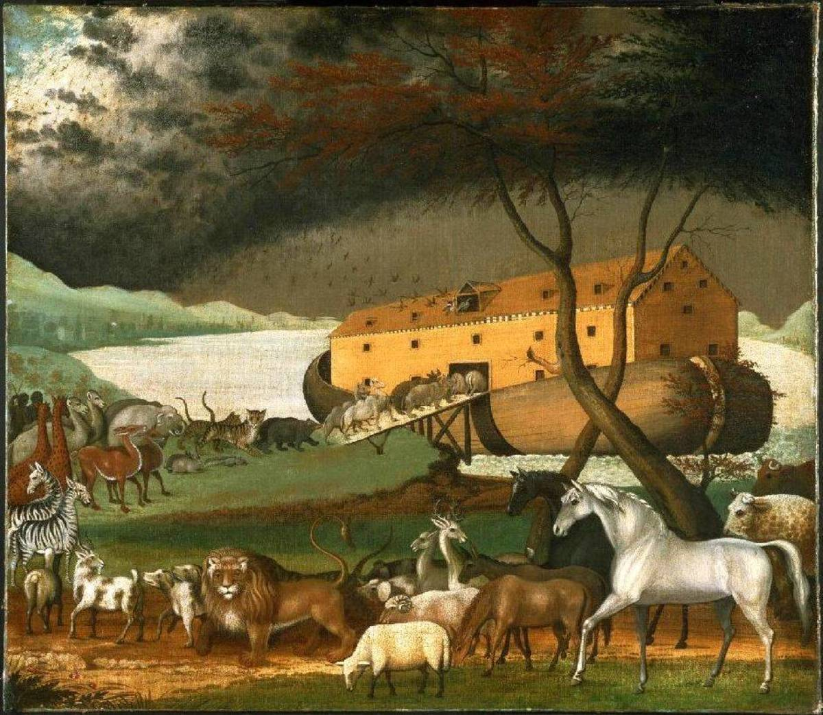 Noah's Ark resting on Mount Ararat.