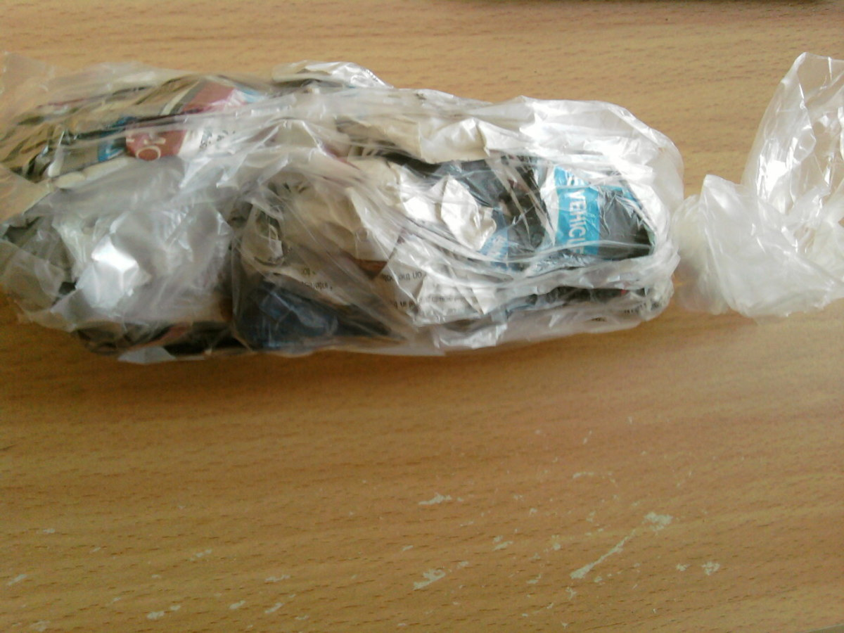 Put the newspaper into a freezer bag.
