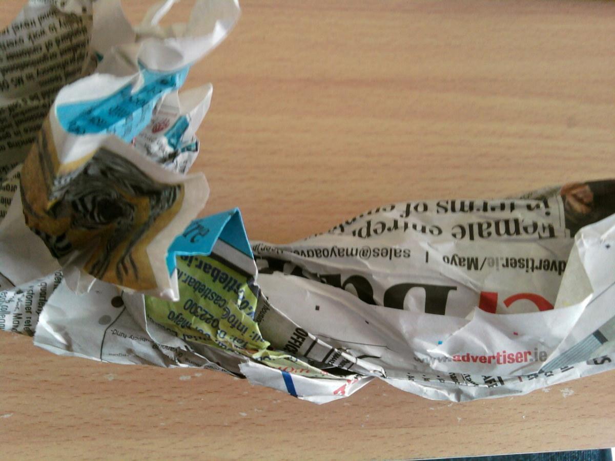 Scrunch up the newspaper