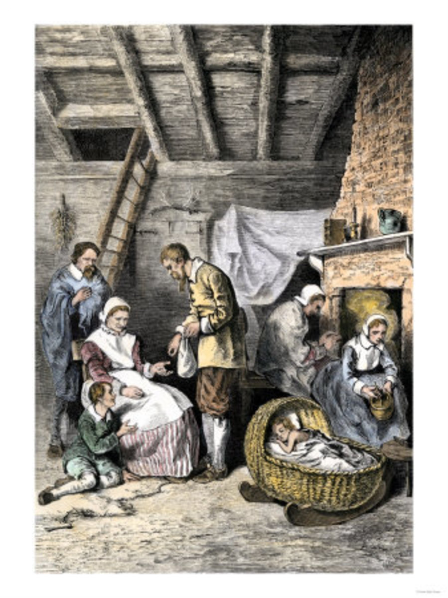 Jamestown Colonists Dealing Out the Last Kernels of Corn During the Starving Time, 1609-1610