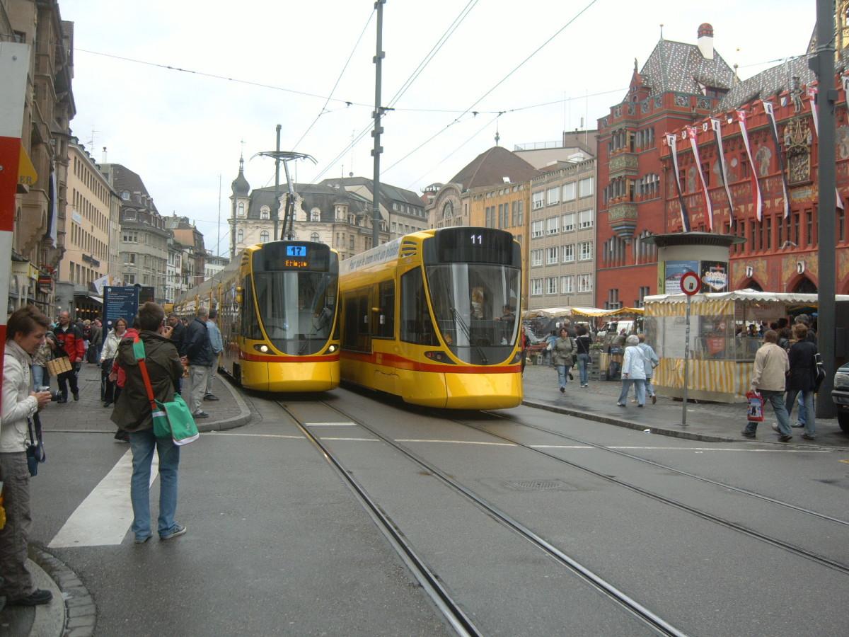 Two City 'Tango Trams' in Basel's Marktplatz