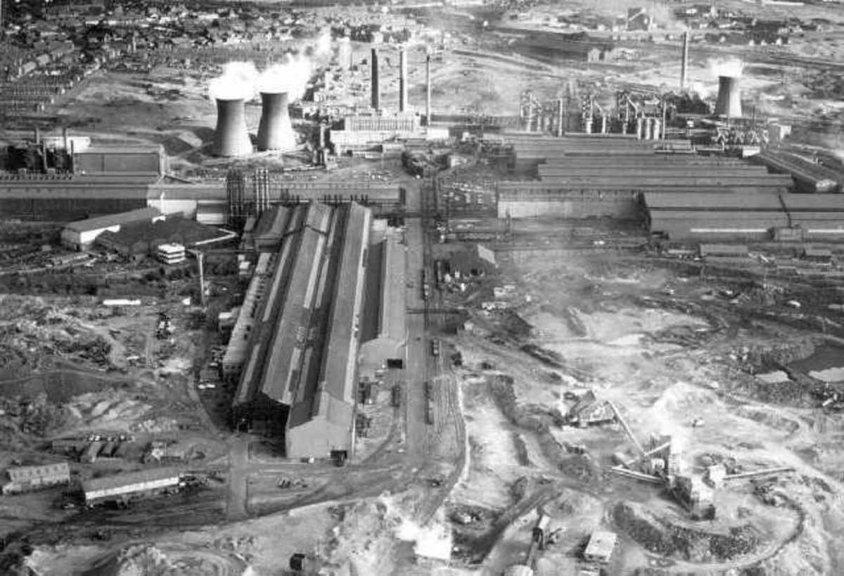 Aerial view of Consett works 1975 - the shadow of closure moved close. Costs were high, profit low