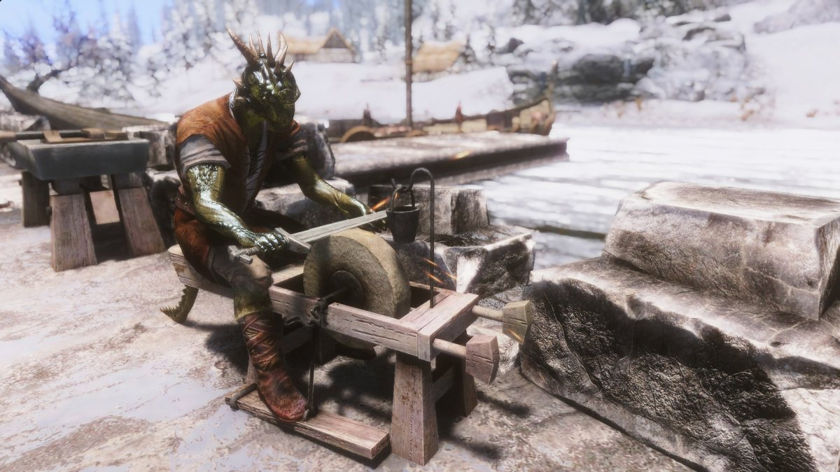 A bitter Argonian works on the docks.