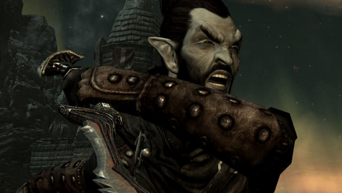 An evil dunmer prepares to (typically) kill someone.