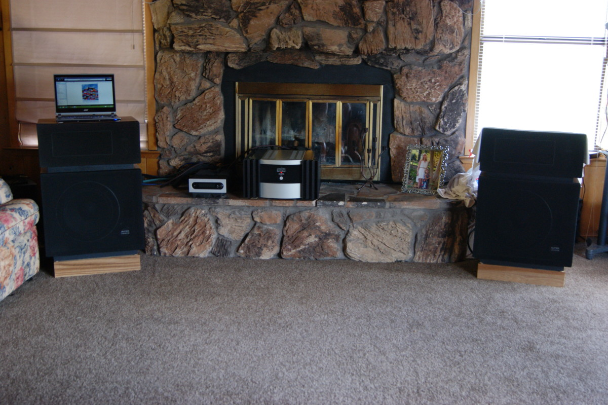 Altec Lansing Model 14's cozy next to the fireplace, warmed by the glow of a Mark Levinson No.331 Power Amp