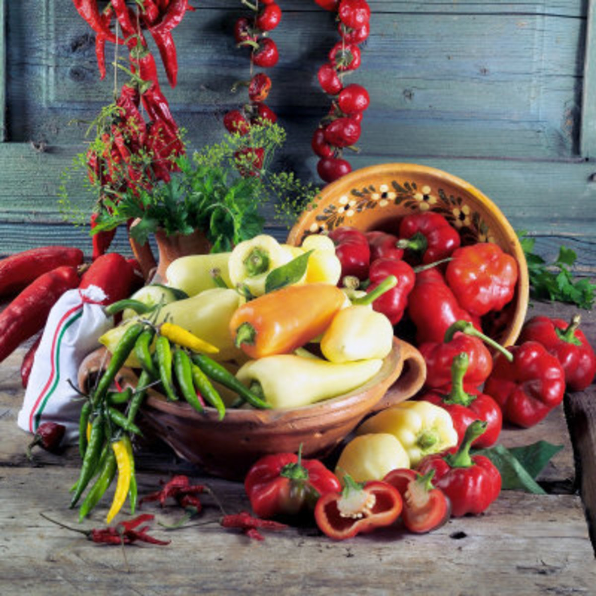 Paprika (spice made from peppers) is the most iconic of Hungarian flavors. It is the basis for this famous chicken dish.