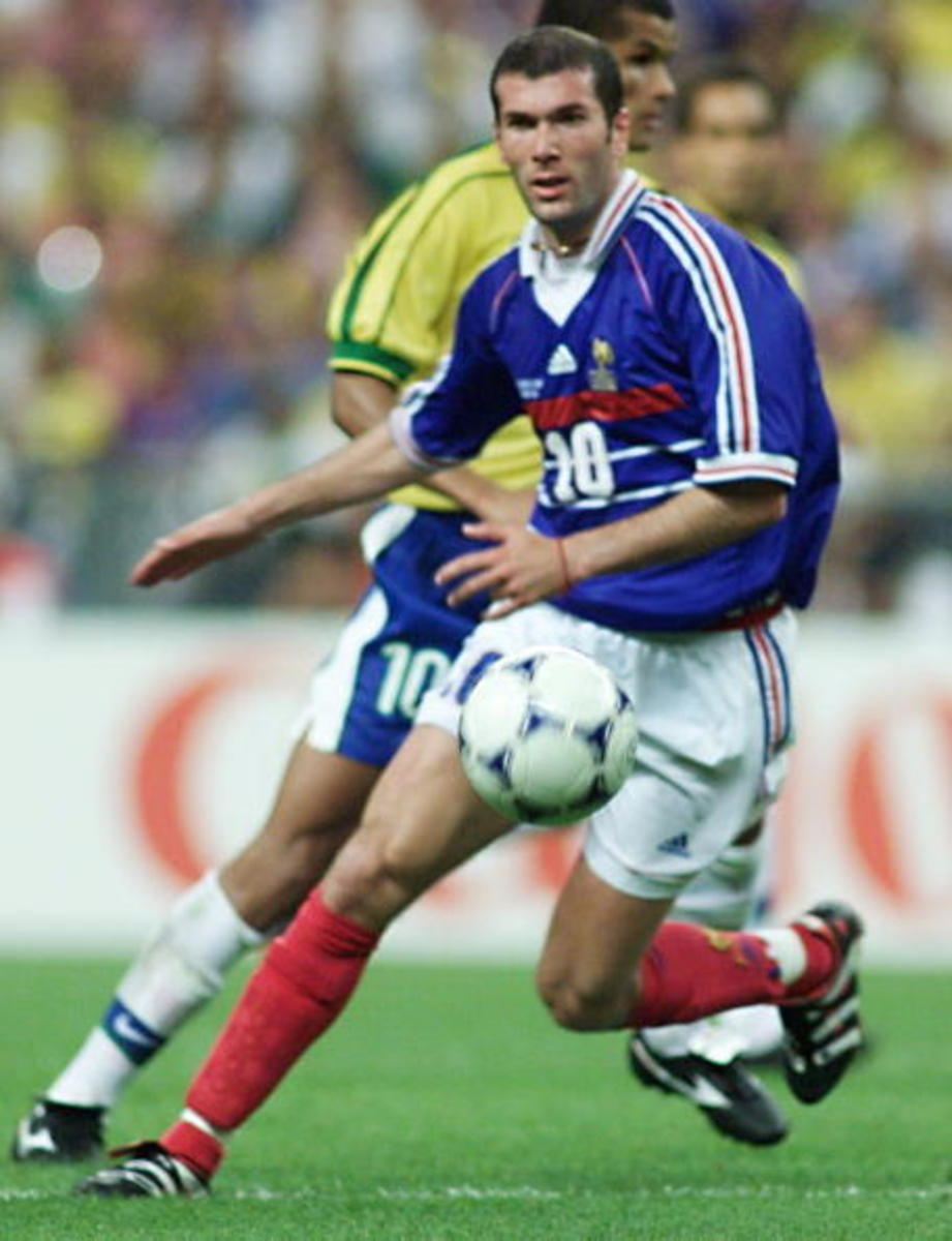 Zidane in action during the memorable win against Brazil in the 1998 World Cup