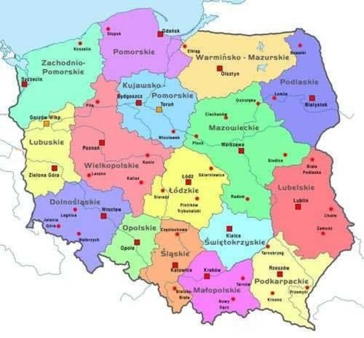 Administrative Map voivodships