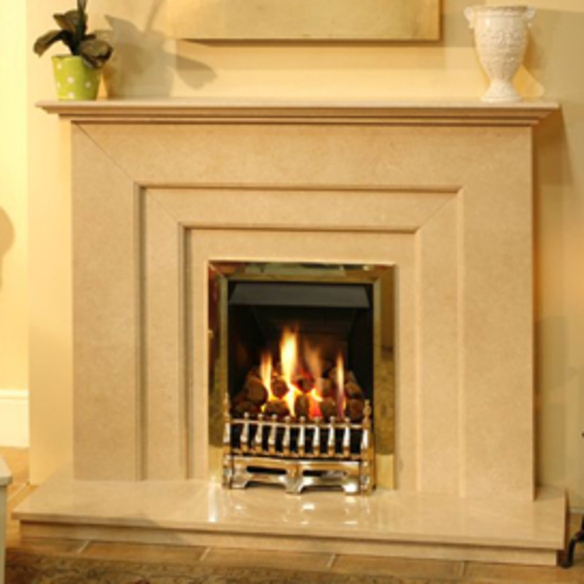 carved stone modern and elegant fireplace