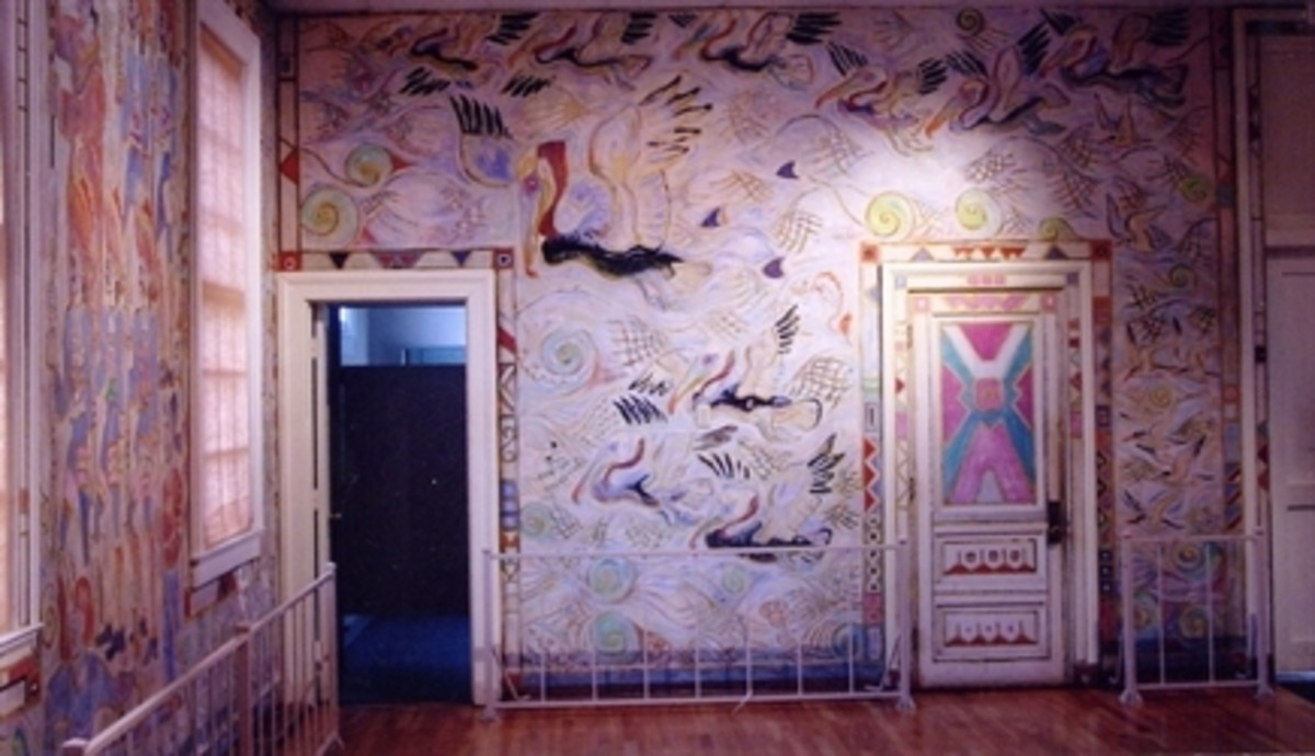 Part of the mural discovered in Walter's cabin after his death.