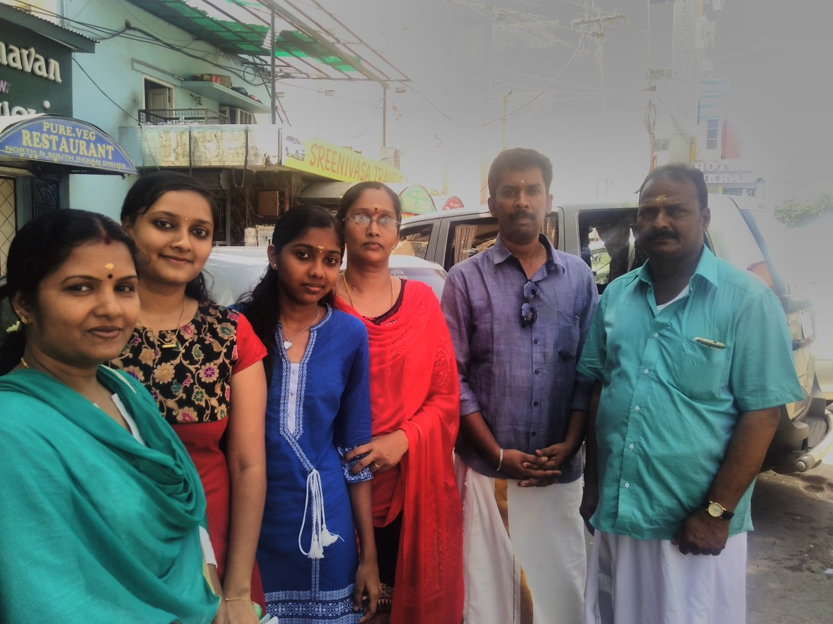 We love temple trips. My family photo taken from Tirupati.