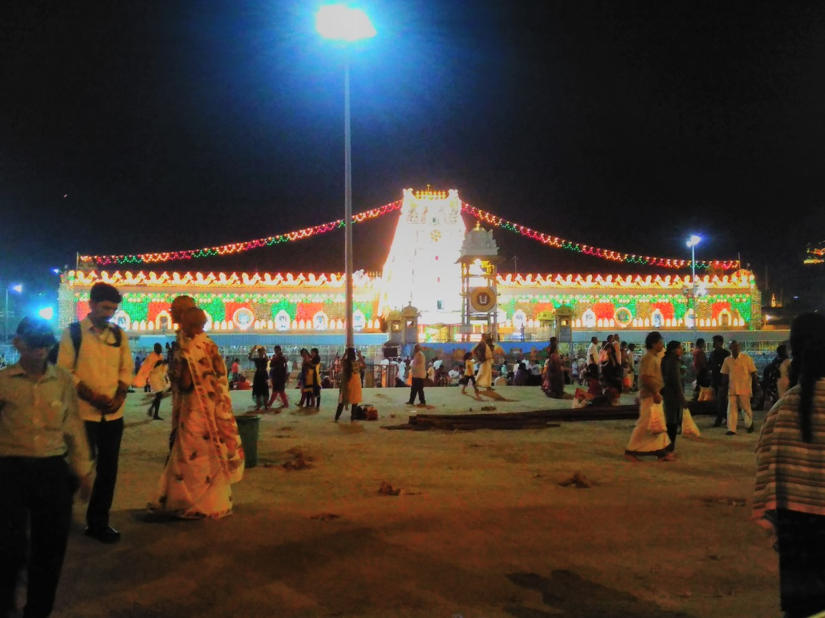 A night scene at the Balaji temple, Tirumala (hilltop)