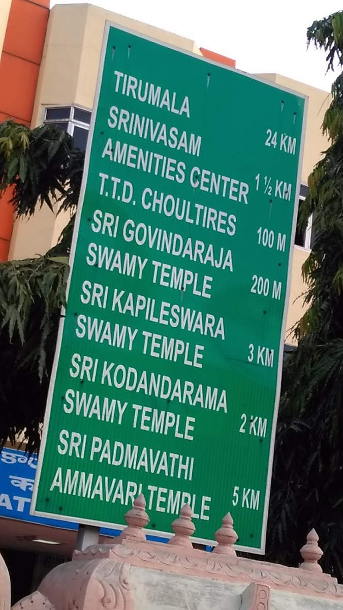 This board gives you the route chart. I took this snap from the front side of Tirupati railway station.