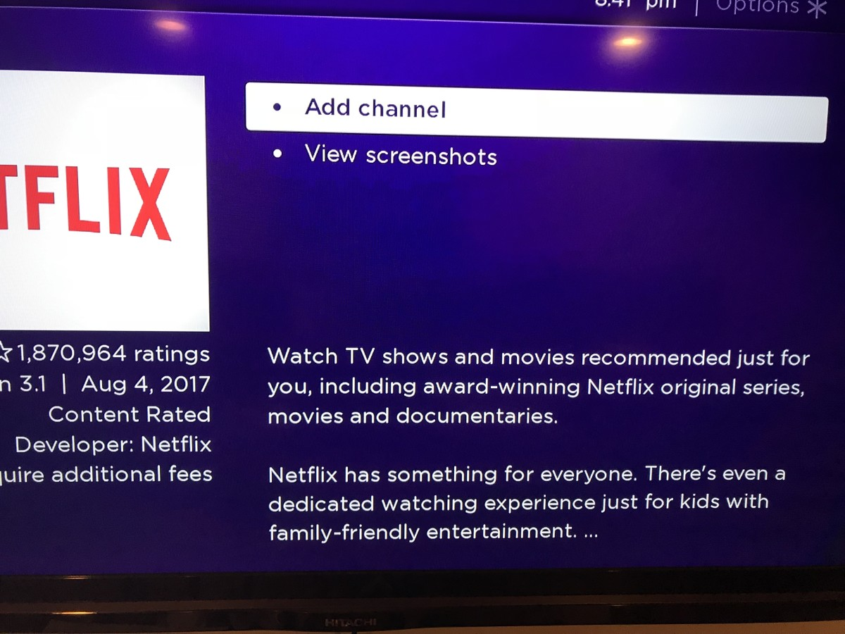 """Select """"Add Channel"""" from the list of options in the Netflix channel description screen."""