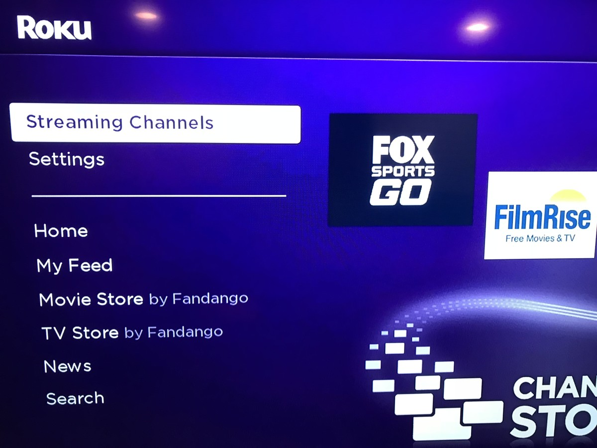 """Choose """"Streaming Channels"""" in the menu along the left side of the Roku home screen."""
