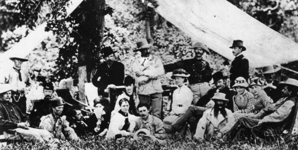 Custer, his men and their wives picknicking in South Dakota just weeks before the Battle of the Little Bighorn. I Company Commander Miles Keough (back row, center left) was one of those who would perish.