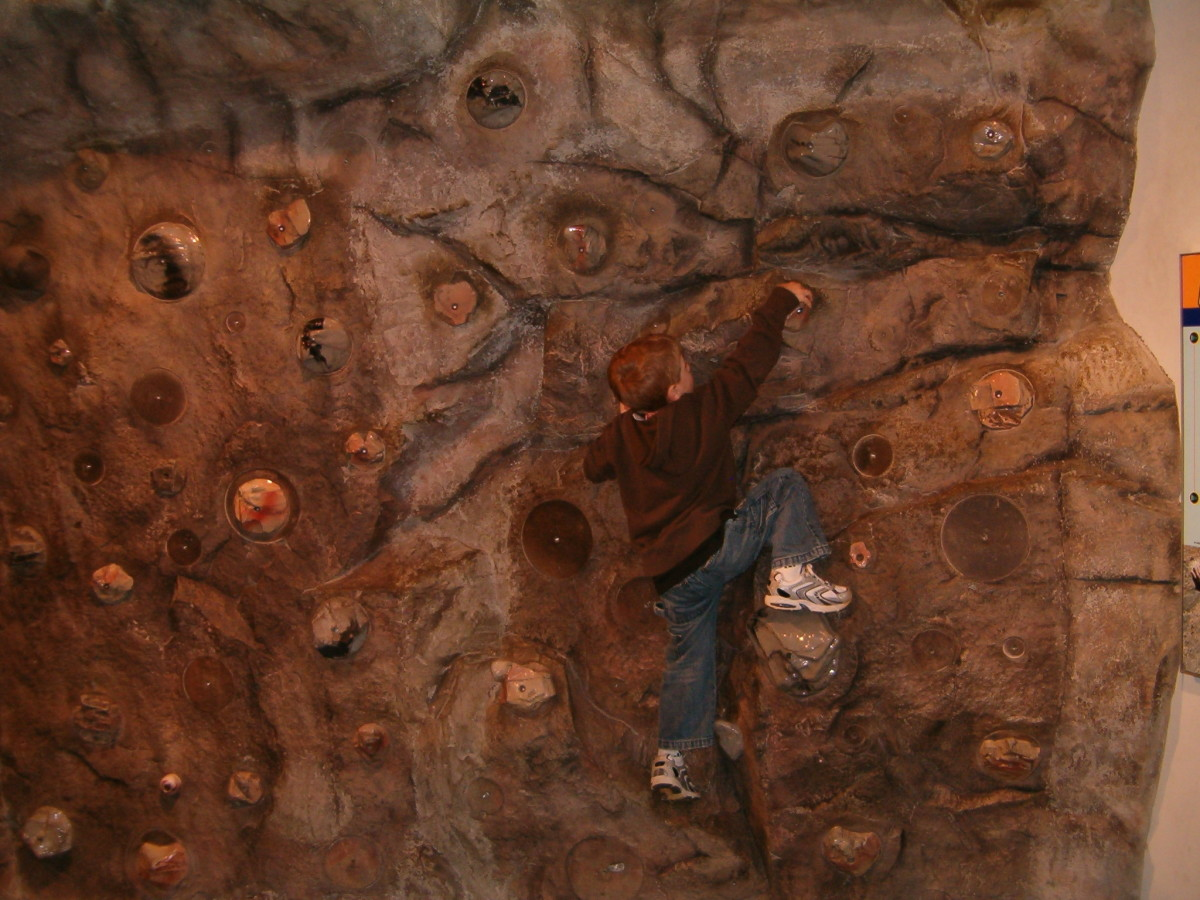 Climbing a small rock wall at the Franklin Institute