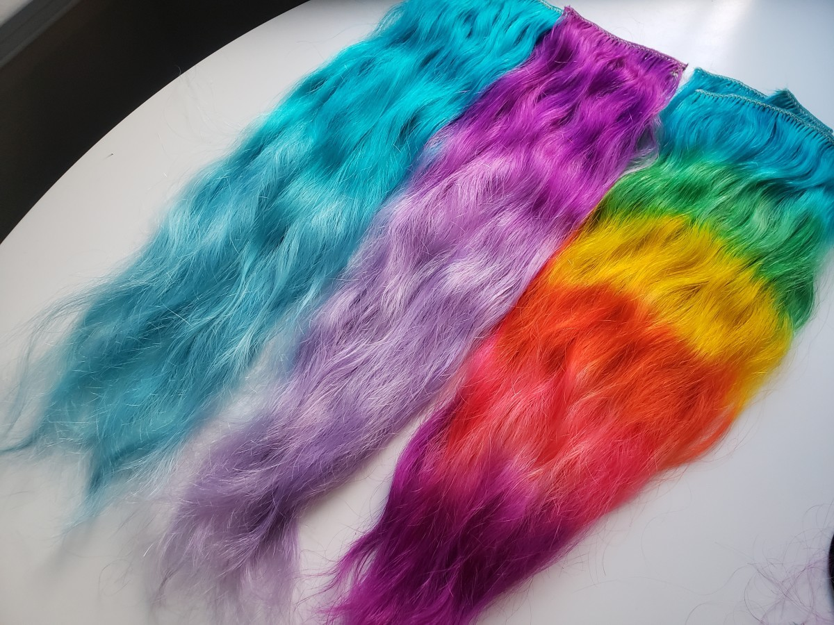 Human hair extensions after air-drying