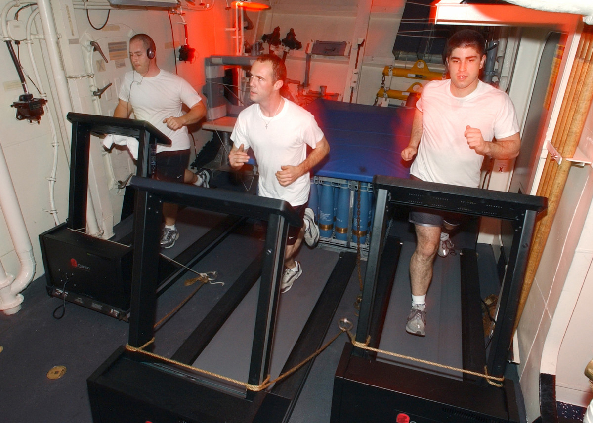 On board ships, treadmills get a real workout.