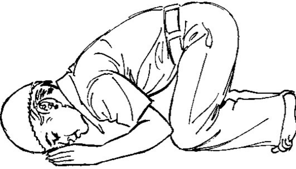 Sajdah (bowing) position fo a Muslim person in prayer