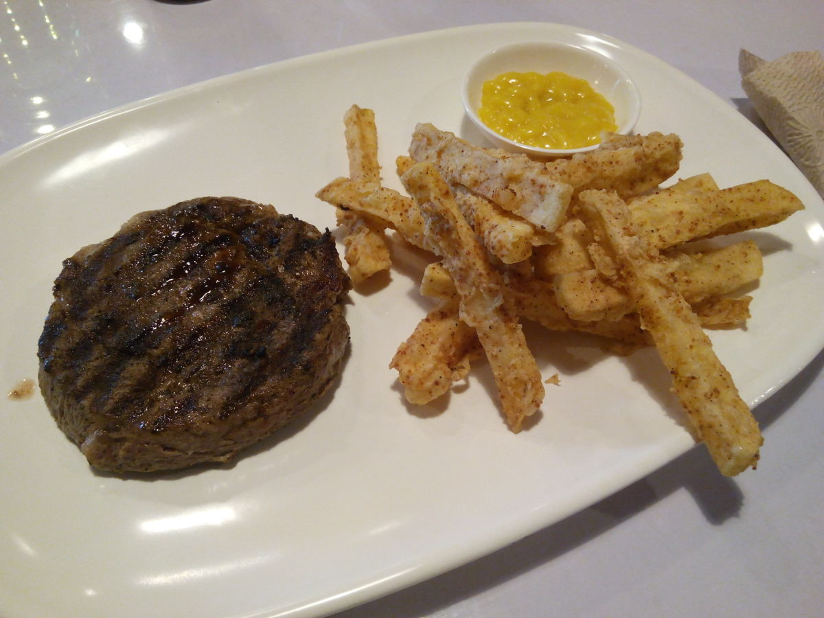Rib-eye steak with yosemite fries. I should have cut it up to show you it was medium rare!