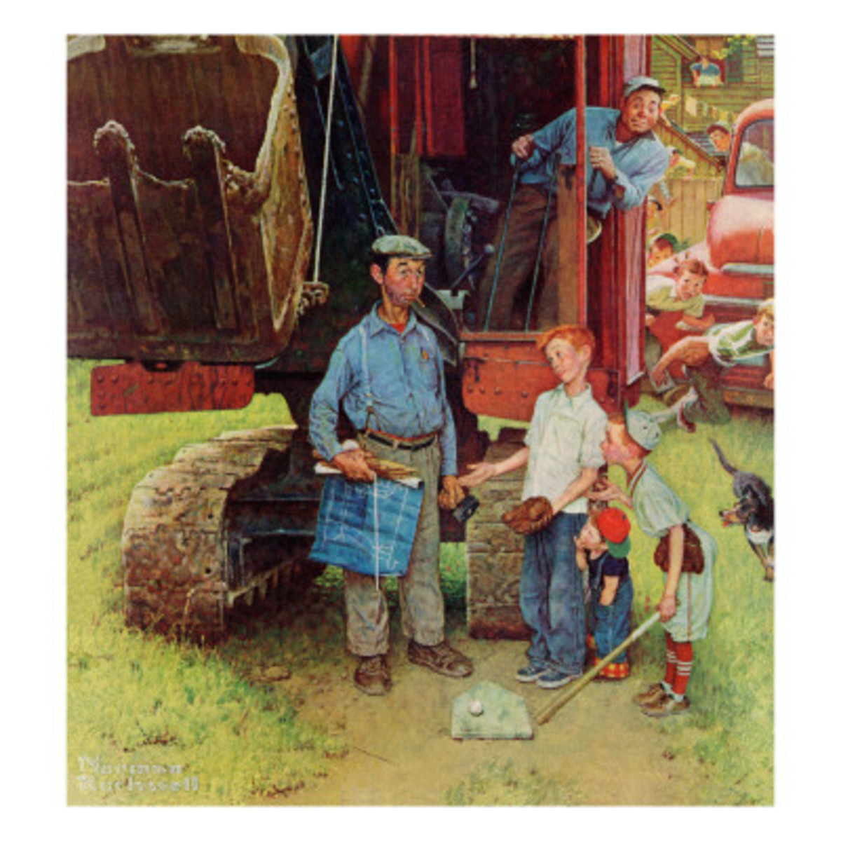 """Construction Crew"" by Norman Rockwell - Like Mom, Dad wore many hats and worked many jobs, paid and unpaid"