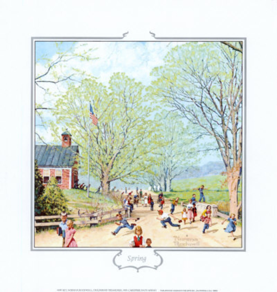 """""""Carefree Days Ahead"""" Art Poster Print by Norman Rockwell - When the school bell rang for the last time before summer recess, we fairly shrieked as we ran home, ready to change into play clothes and hit the dusty streets"""