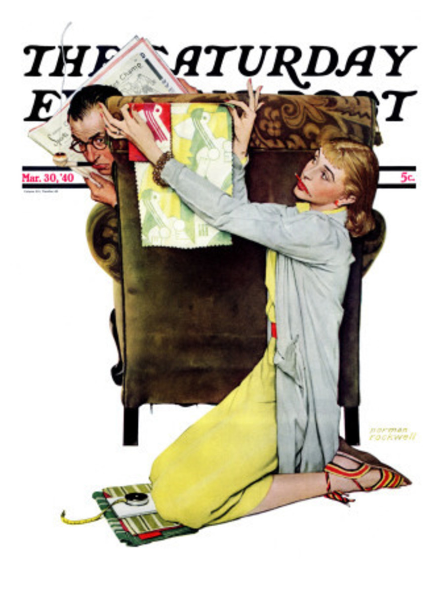 """Decorator"" by Norman Rockwell shows just one of a mother's many jobs during those years when a woman ""didn't work"""