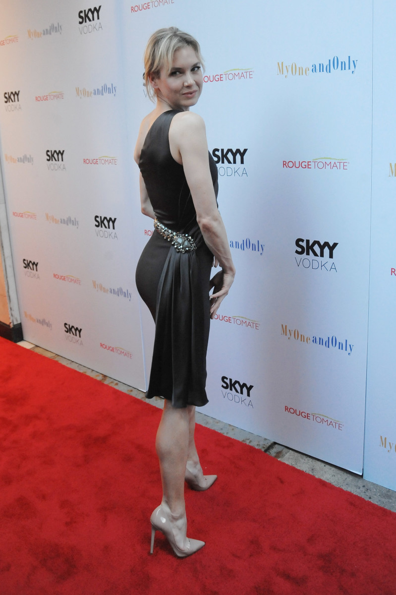 Renee Zellweger shows off her great legs at the premiere of My One and Only wearing high heel stilettos.