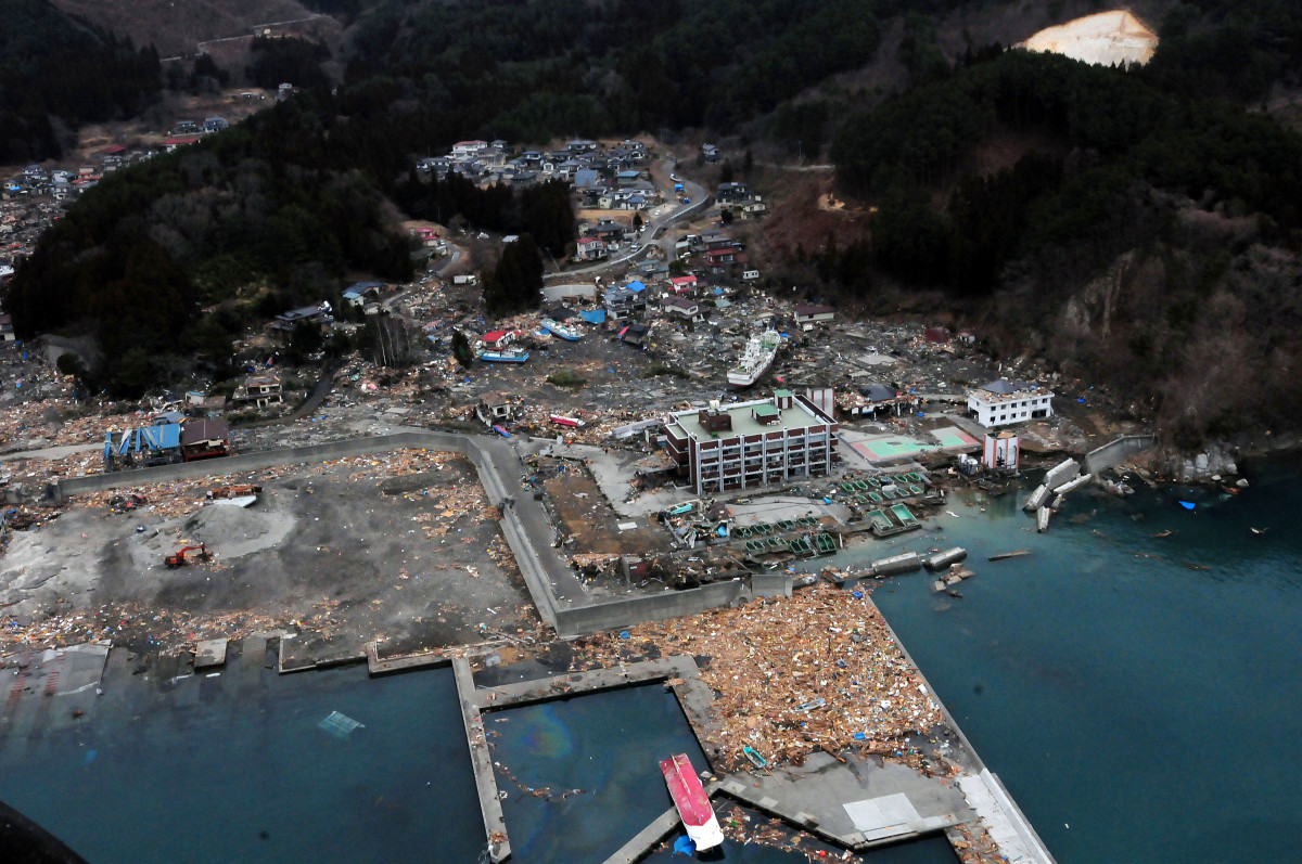 Otsuchi, Iwate, Japan (March 15, 2011) An aerial view of damage to Otsuchi, Iwate, Japan after a 9.0 magnitude earthquake and subsequent tsunami devastated the area in northern Japan.