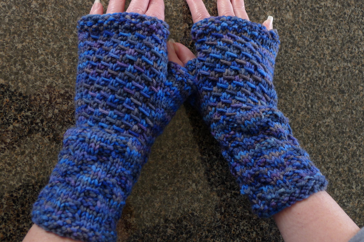 The completed gloves or mitts.