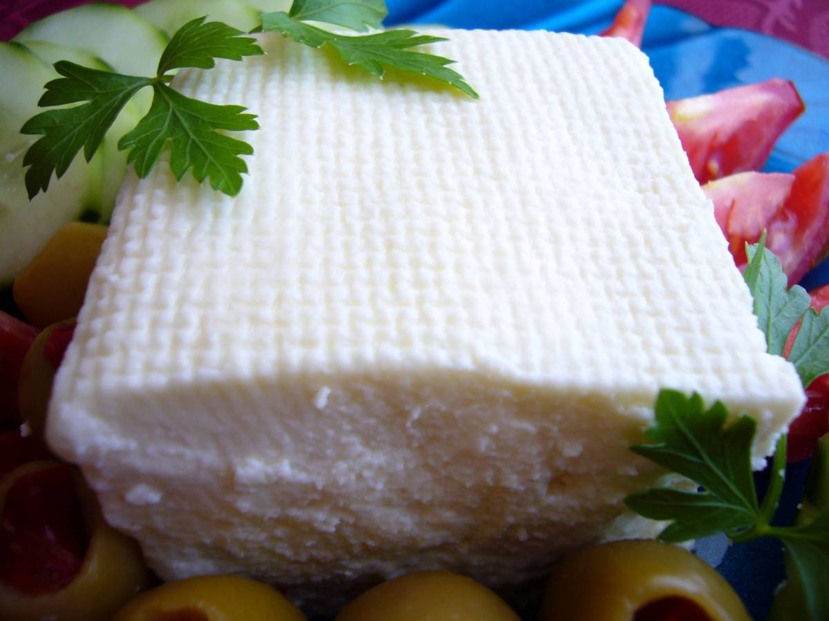 White cheese (beyaz peynir) in a typical Turkish breakfast.