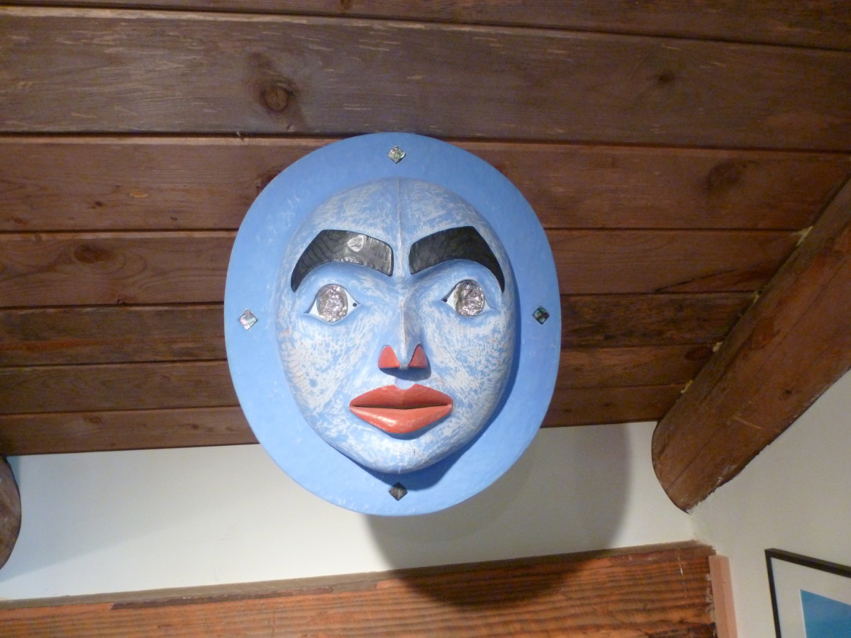 This is a lovely female style moon mask by Andrew Dunkerton in his studio at Roberts Creek