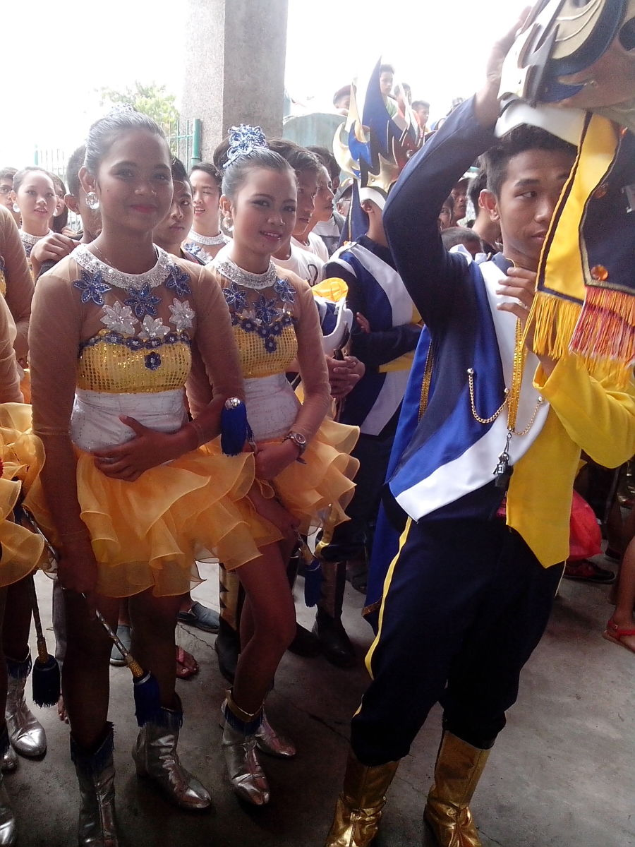 Drum, Lyre and Majorette Contingent of Hobo awaiting for their turn for exhibition (Photo Source: Ireno A. Alcala)