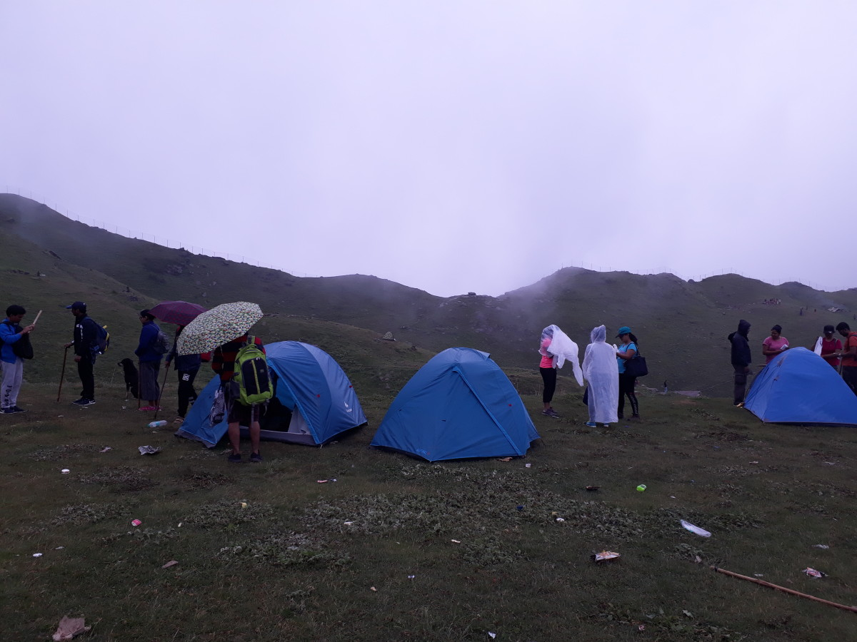 It was raining on and off since last night and our guide had only few use and throw raincoats to cover us. I reached to the base camp without any rain coat as I love being in the rain all the time.