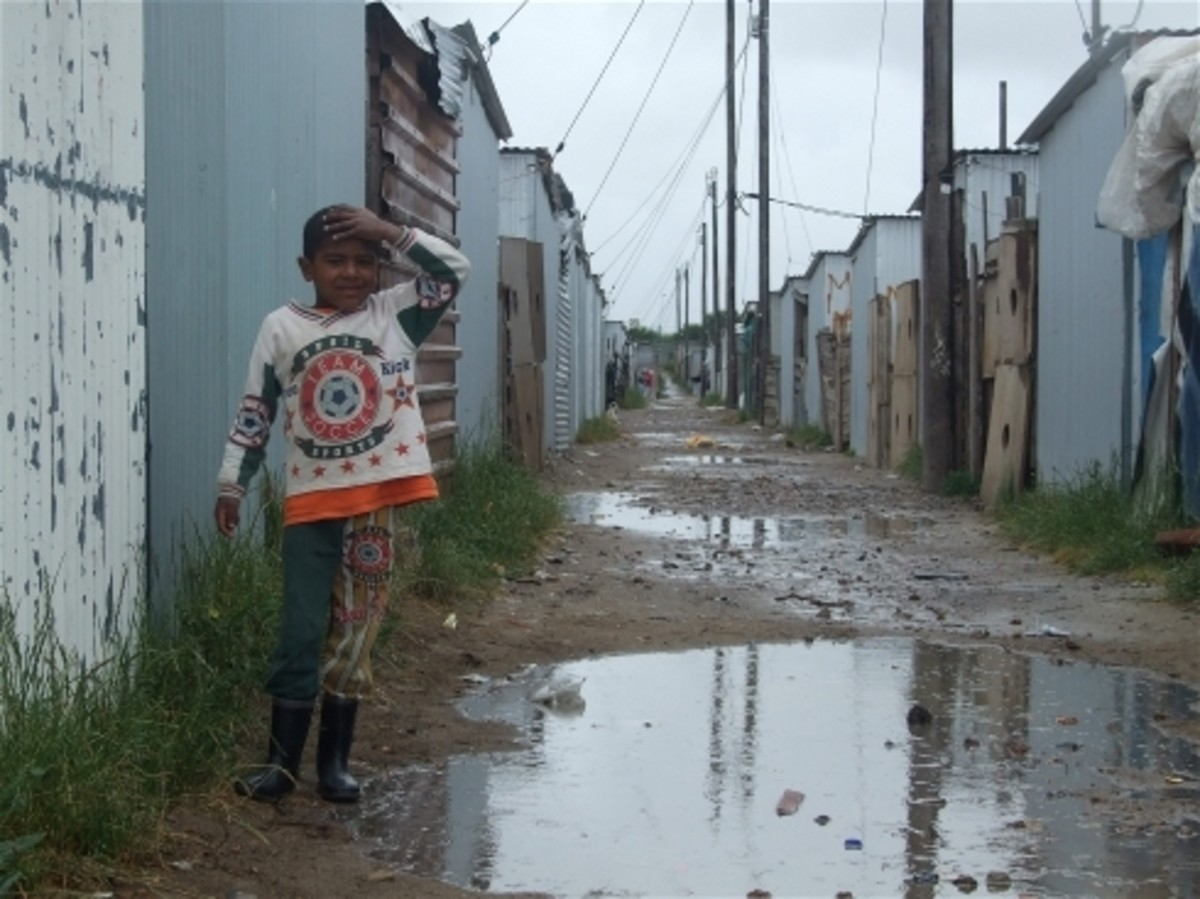 The streets/alleyways of Blikkiesdorp, near Cape Town, South Africa