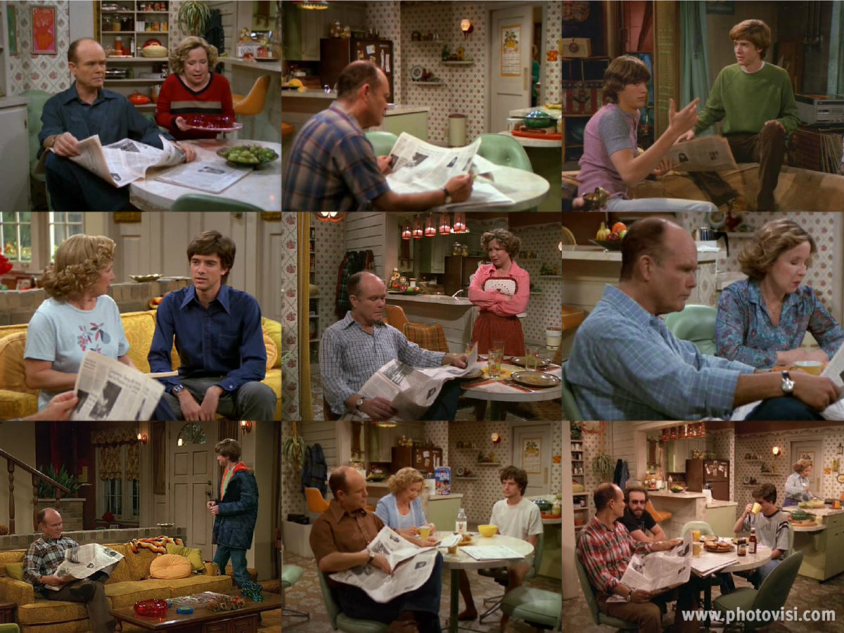 "Poor Kurtwood Smith has been forced to read the same paper over 8 years in ""That '70s Show"". Collage made in photovisi editor."