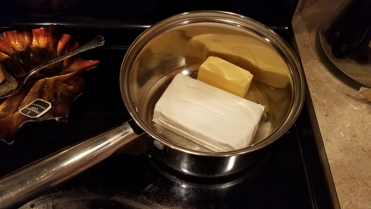 Add in your butter and continue melting until you can stir it up.