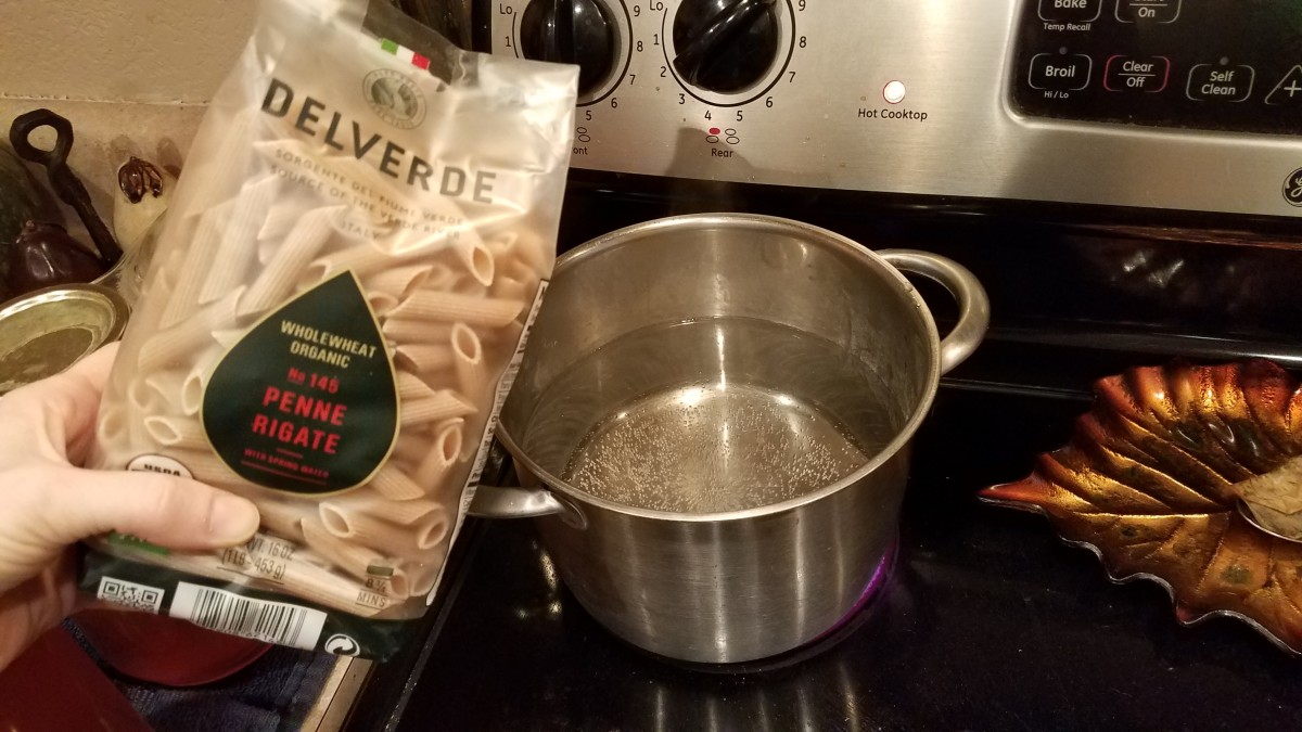 Fill a medium pot with water and boil your chosen noodles over medium-high heat until they cut easily with a fork. We love this dish but rarely have fettuccine noodles, so tonight we used penne.