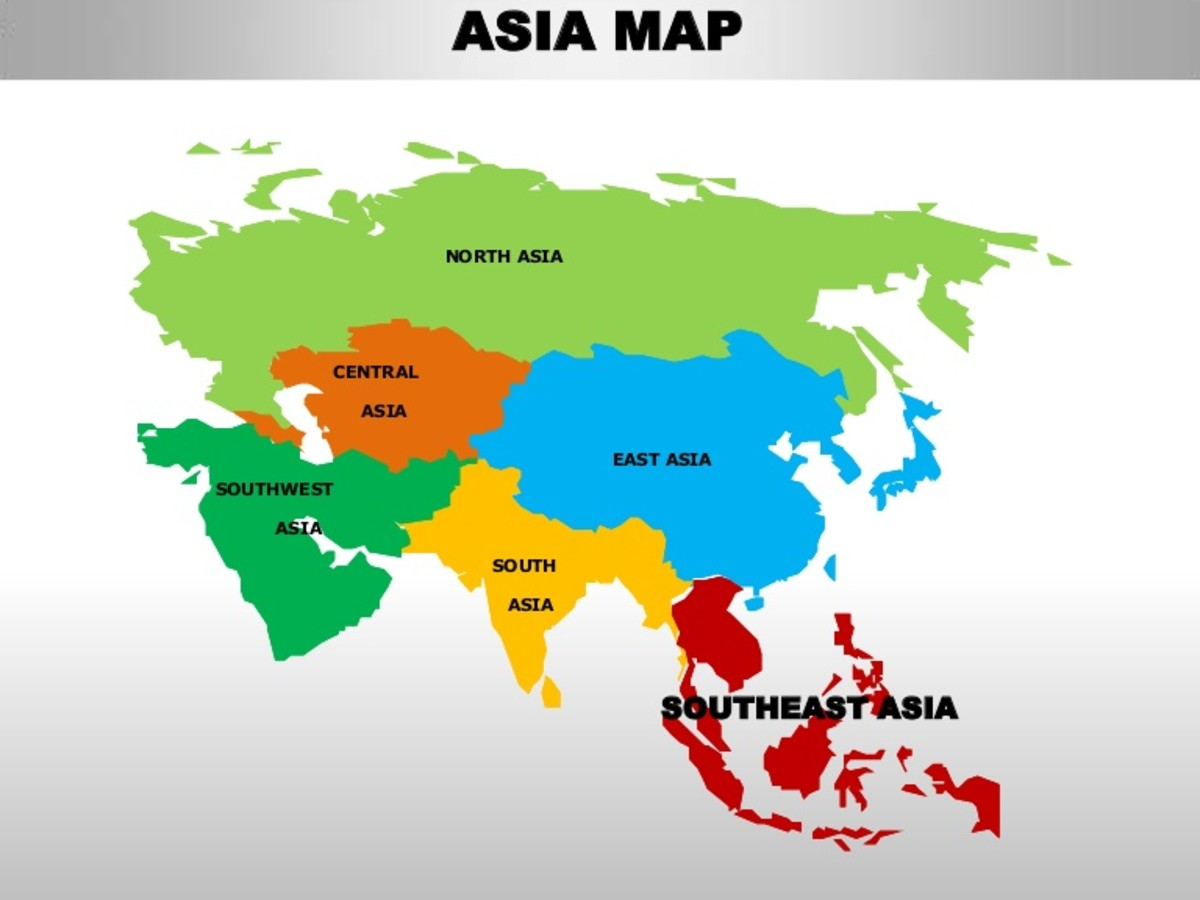 South East Asia is highlighted in red, just below China in the Asia Map